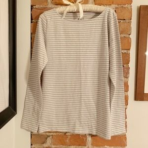 J. Crew NWT Artist Tee in Cream and Silver Stripe